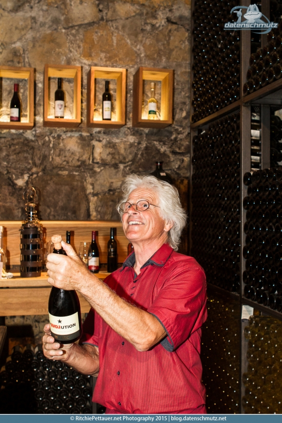 Milan Hlebec in his cellar.