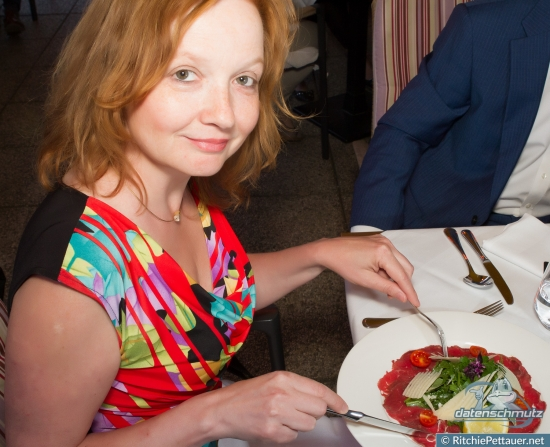 Nelly Herner enjoying her Carpaccio.